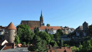 Bautzen-Gerberbastei mit Dom St. Petri und Nicolaiturm vom Schützenplatz