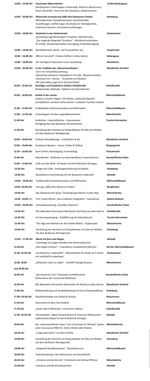 Programm Altstadtfestival Bautzen Sonntag 02.09.2018